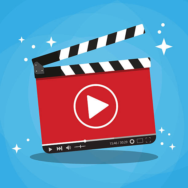 illustrations, cliparts, dessins animés et icônes de clapperboard with video web streaming player - ardoise