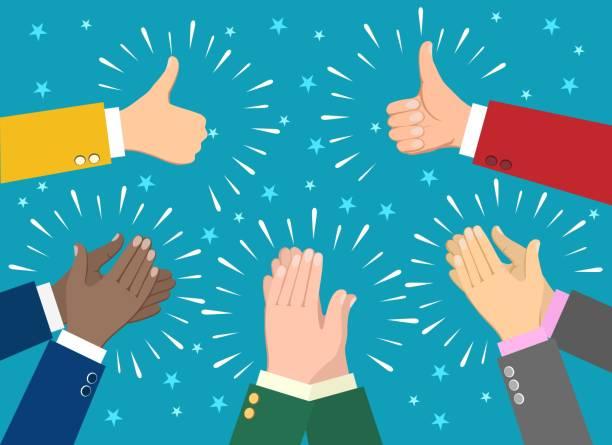 stockillustraties, clipart, cartoons en iconen met zakenman handen klappen - cheering