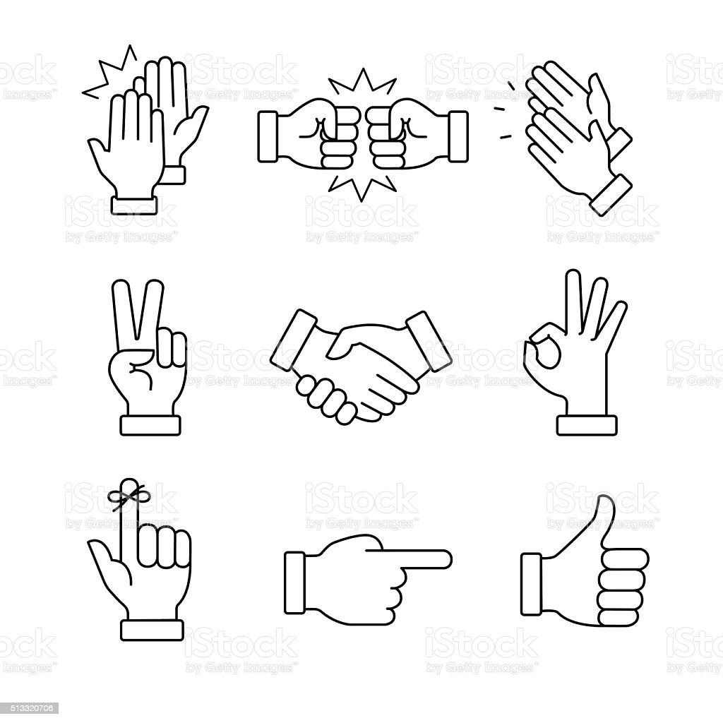 Clapping mãos e outros movimentos - ilustração de arte em vetor