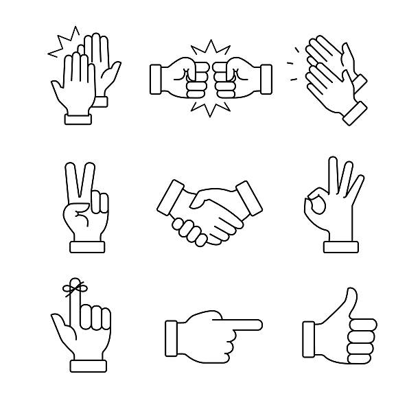 clapping hands and other gestures - reminder stock illustrations
