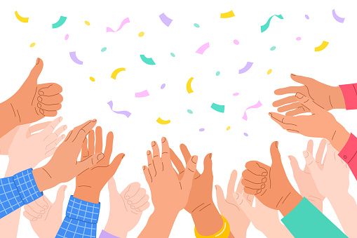 Clapping human hands. Crowd of men and women congratulates a winner. Business team applauding for great successful work. Teamwork and togetherness concept. Hand drawn colorful illustration