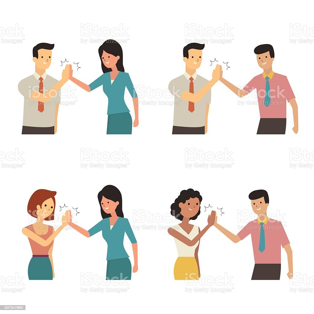 Clapping hands each other vector art illustration