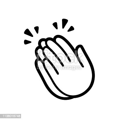 Clapping hands emoji symbol, applause icon. Simple black and white vector illustration.