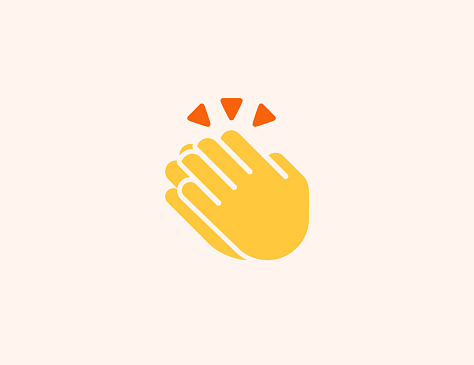 Clapping Hands vector icon. Isolated Clapping Hands, Applause flat colored symbol - Vector