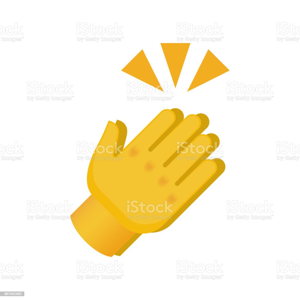 Clapping Hands with Crossed Fingers on White Background vector art illustration