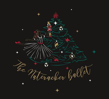 Clara + Nutcracker + the Christmas tree. Ballet poster concept illustration