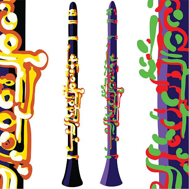 klarnety, różnych kolorach - klarnet stock illustrations