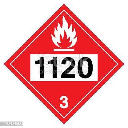 istock Class 3 Butanols UN1120 Symbol Sign, Vector Illustration, Isolate On White Background, Label .EPS10 1278414963