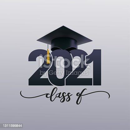 istock Class and gold graduates of 2021 with a graduation black cap. Vector for design and theme design. Grad concept 2021 design for high school or college party, web. Isolated on white background. 1311595844