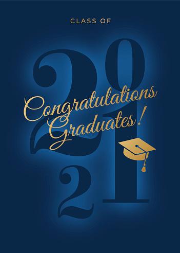 2021 Class - Congratulations graduates card. For invitation, banner, poster, postcard. Vector illustration.