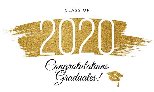 2020 class - Congratulations graduates card with golden glitter.