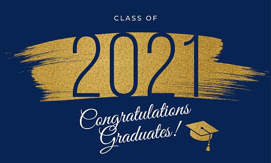 2021 Class - Congratulations graduates card with golden glitter.