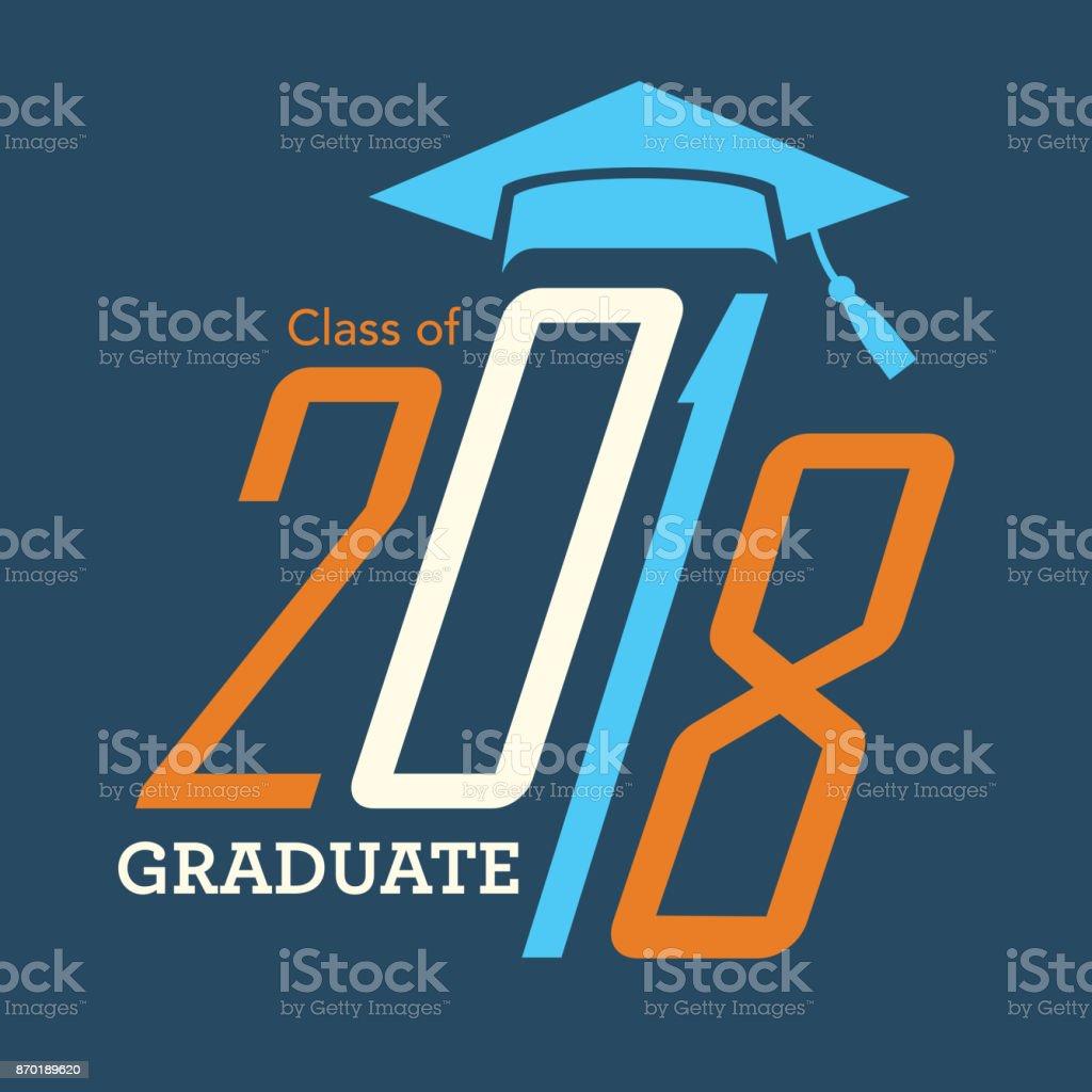 Classe de 2018 Parabéns formar tipografia - ilustração de arte em vetor