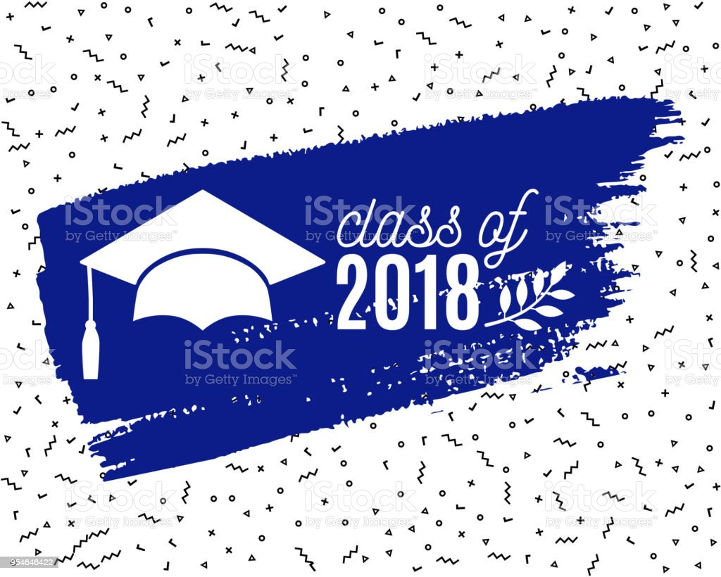 class of 2018 graduate greeting card with hat laurel and ink brush
