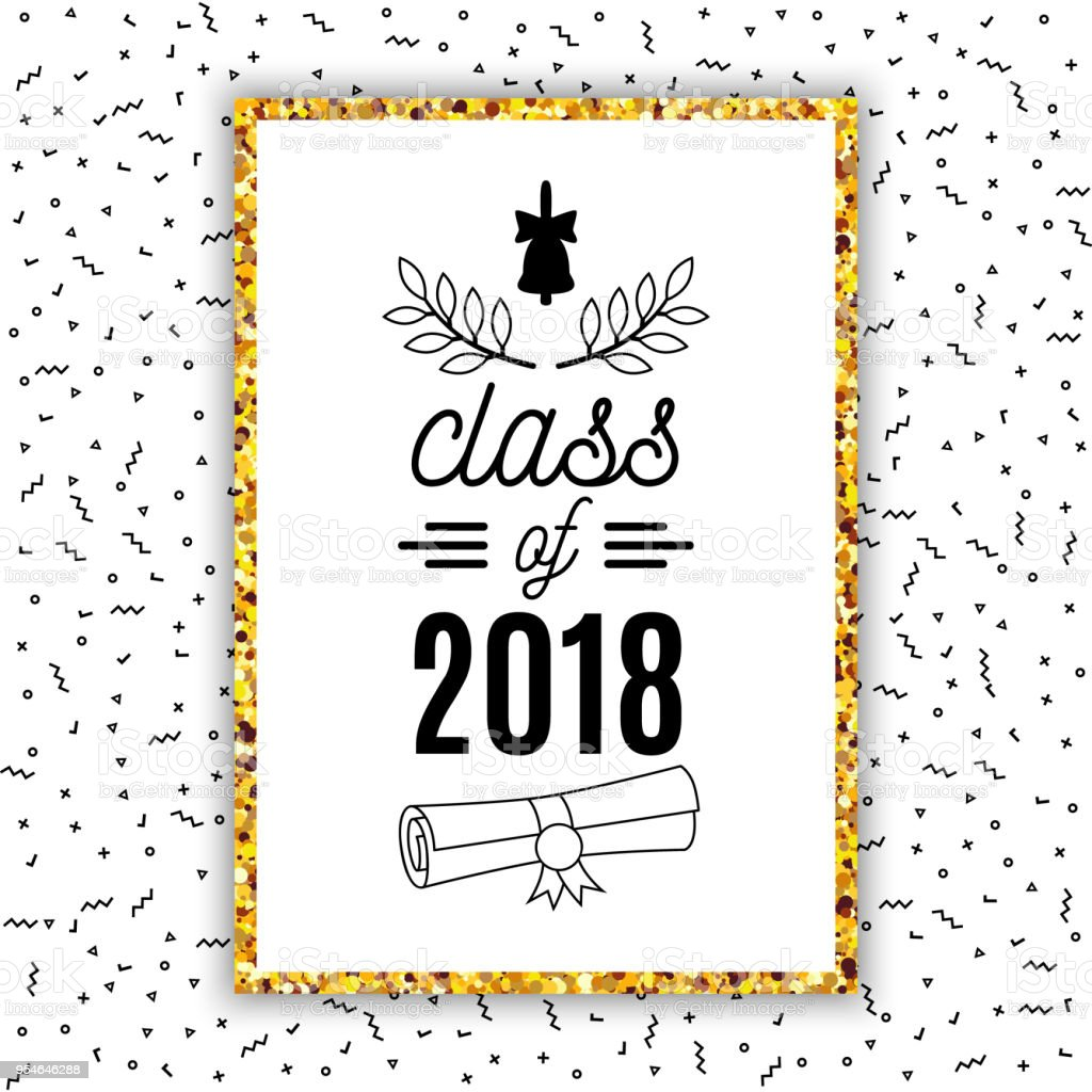 Class of 2018 graduation greeting card with bell scroll and laurel class of 2018 graduation greeting card with bell scroll and laurel on confetti background for stopboris Image collections