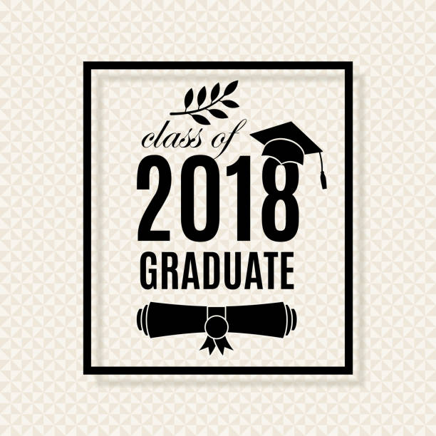 Silhouette Of Graduation Cap Border Illustrations, Royalty