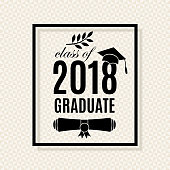 class of 2018 graduate banner with hat laurel and hands with thumbs