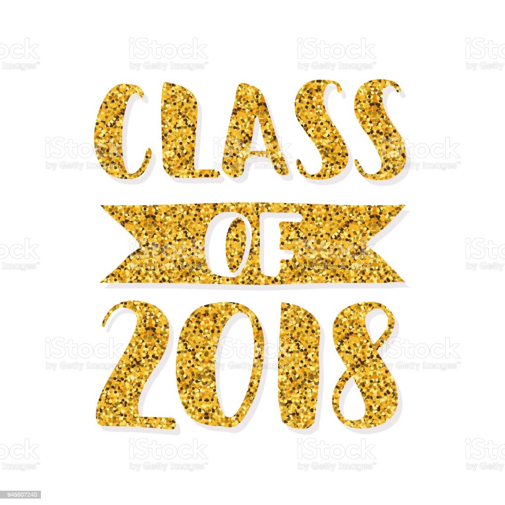 class of 2018 hand drawn brush lettering graduation template for