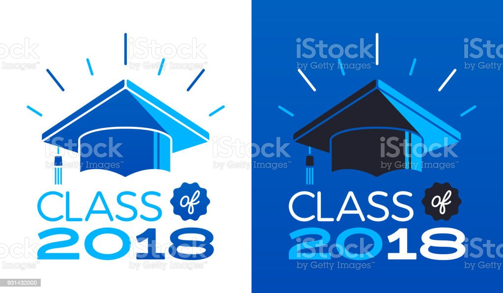 Class of 2018 vector art illustration