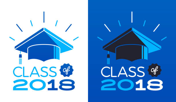 Class of 2018 vector art illustration