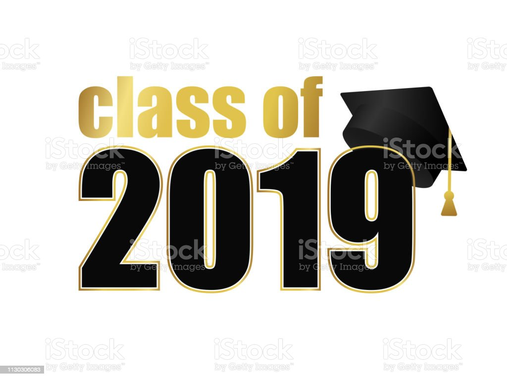cff5af5d72e Class Of 2019 Black Number With Gold Stroke And Dark Education ...