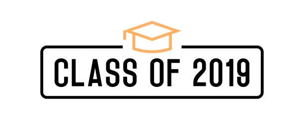 Klasse von 2019 Gratulation Absolventen Design. Vektorabbildung für Partyeinladungen, Banner, Hintergründe, Cover. Abschlusstag, Promnacht und andere akademische Veranstaltungen. – Vektorgrafik
