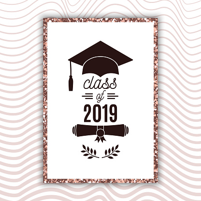 Class of 2019 graduate poster with hat, scroll, laurels on blush rose waves background for invitation, banner, greeting card, postcard. Vector graduate template. All isolated and layered