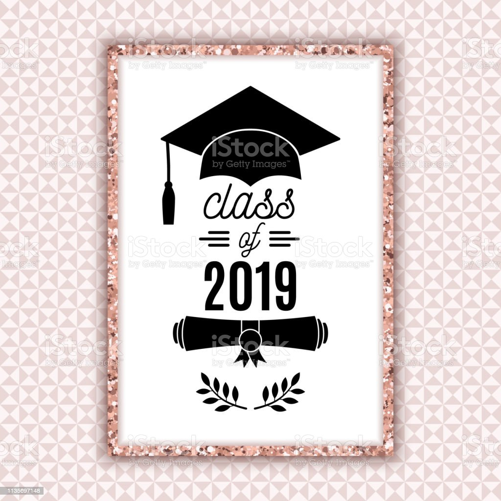 Class of 2019 graduate poster with hat, scroll, laurels on pale pink...
