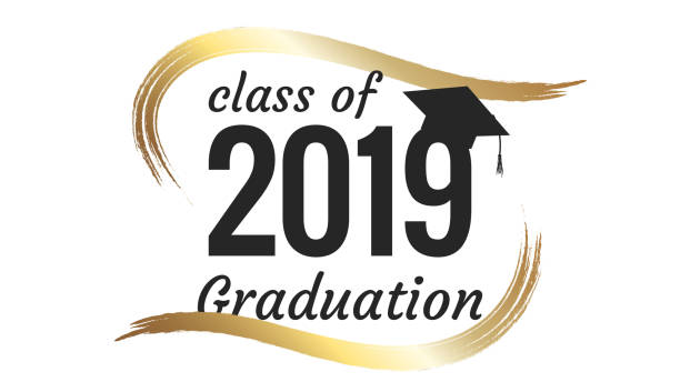 Class of 2019 graduation text design for cards, invitations or banner Class of 2019 graduation text design for cards, invitations or banner college dean stock illustrations