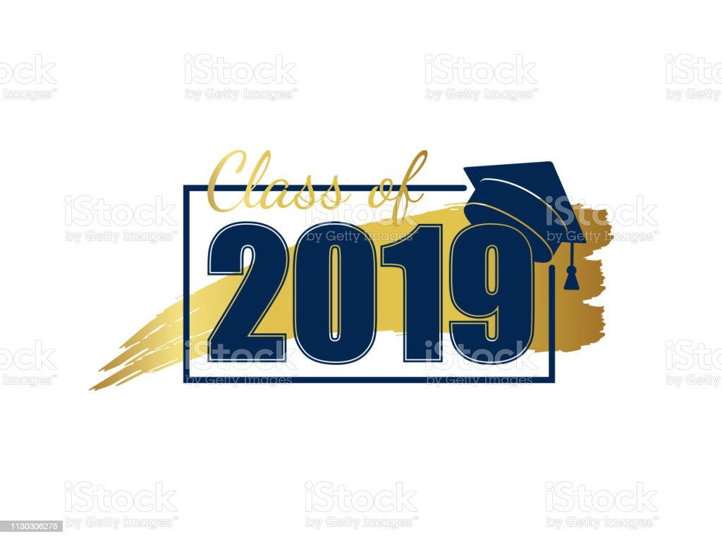 Class of 2019. Hand drawn brush gold stripe and number with education...