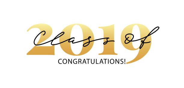 ilustrações, clipart, desenhos animados e ícones de classe de 2019. caligrafia moderna. logotipo da rotulação. anuário graduado do projeto. ilustração do vetor. - 2019