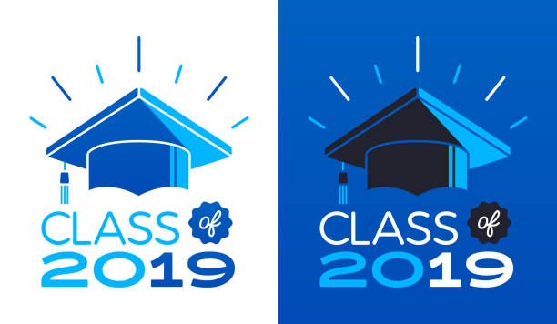 class of 2019 - blue clipart stock illustrations