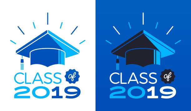 ilustraciones, imágenes clip art, dibujos animados e iconos de stock de clase de 2019 - graduación
