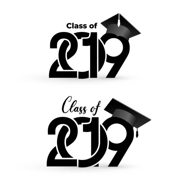class of 2019 with graduation cap. text design pattern. vector illustration. isolated on white background - class stock illustrations