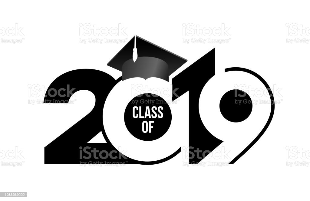 Class of 2019 with graduation cap. Text design pattern. Vector illustration. Isolated on white background. vector art illustration