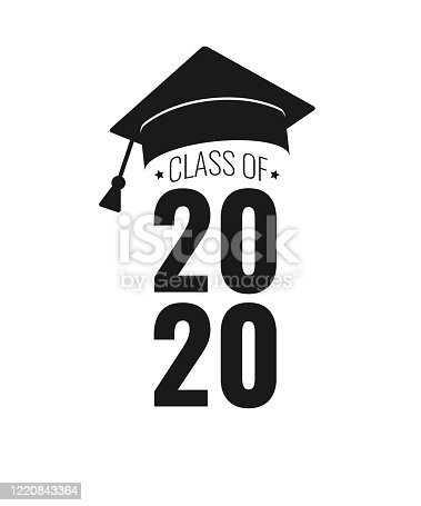 istock Class of 2020. Black number, education academic cap on white background. Template for graduation design frame, high school, college congratulation graduate, yearbook. Vector illustration. 1220843364
