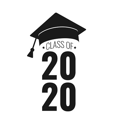 Class of 2020. Black number, education academic cap on white background. Template for graduation design frame, high school, college congratulation graduate, yearbook. Vector illustration.