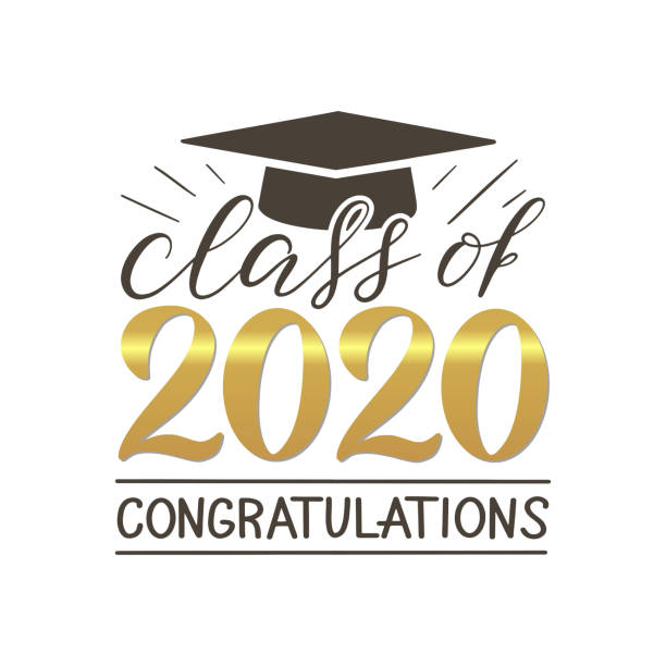 class of 2020 congatulations lettering banner. - graduation stock illustrations