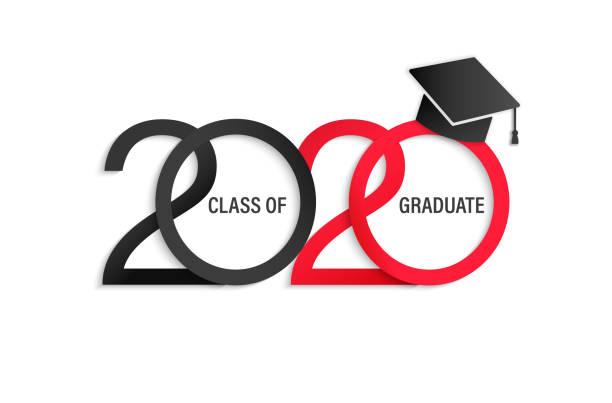 ilustrações, clipart, desenhos animados e ícones de classe de 2020, cartão elegante. - formatura