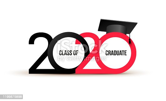 Class of 2020. Elegant logo card in black, red colors for flyers, greetings, invitations, business diaries, congratulations and posters at the prom. Vector illustration. Isolated vector illustration.