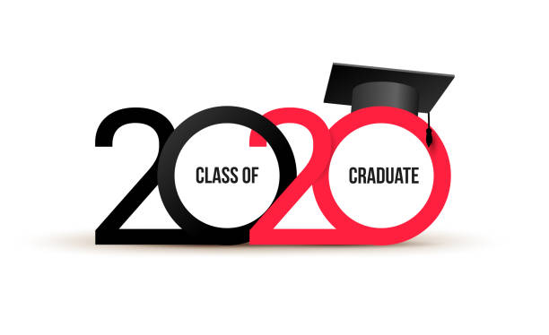 class of 2020. elegant logo card in black, red colors for flyers, greetings, invitations, business diaries, congratulations and posters at the prom. vector illustration. isolated vector illustration. - graduation stock illustrations