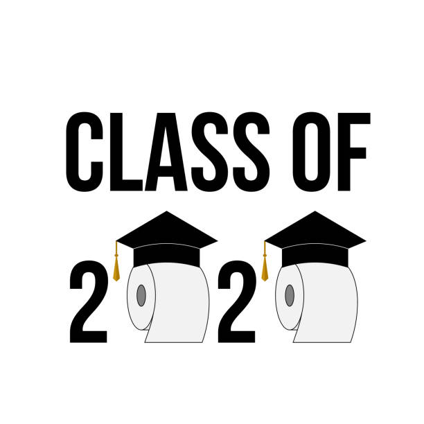 illustrazioni stock, clip art, cartoni animati e icone di tendenza di class of 2020 funny typography poster with toilet paper and graduation hats isolated on white. coronavirus covid-19 quarantine. vector template for graduation greeting card, banner, sticker, t-shirt. - carta igienica