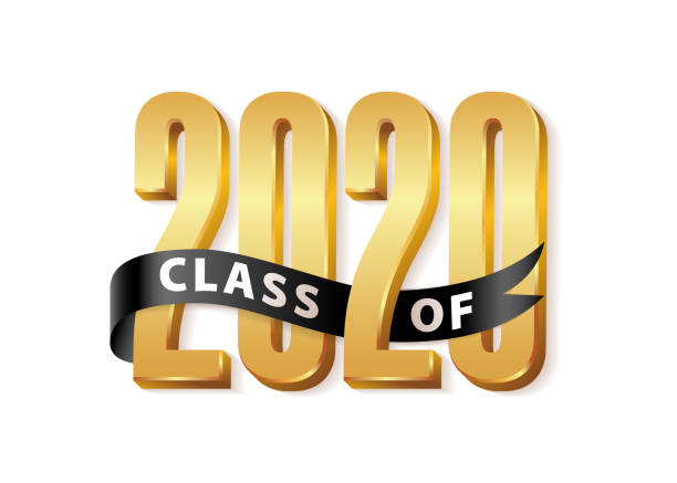 Class of 2020 Gold Lettering Graduation 3d logo with black ribbon. Graduate design yearbook Vector illustration Class of 2020 Gold Lettering Graduation 3d logo with black ribbon. Template for graduation design, party, high school or college graduate, yearbook. Vector illustration learning stock illustrations