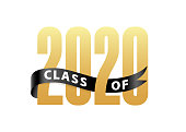 Class of 2020 Gold Lettering Graduation 3d logo with ribbon. Template for graduation design, party, high school or college graduate, yearbook. Vector illustration