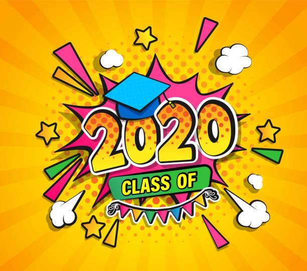 stockillustraties, clipart, cartoons en iconen met klasse van 2020, afstuderen banner. - slagen school