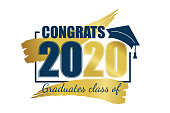 istock Class of 2020. Hand drawn brush gold stripe and number with education academic cap. Vector illustration. 1184340508