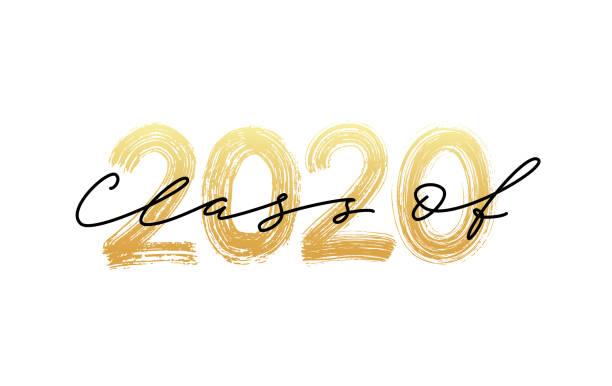 ilustraciones, imágenes clip art, dibujos animados e iconos de stock de clase de 2020. caligrafía moderna. logotipo de letras de pincel dibujado a mano. anuario de diseño graduado. ilustración vectorial. - graduación