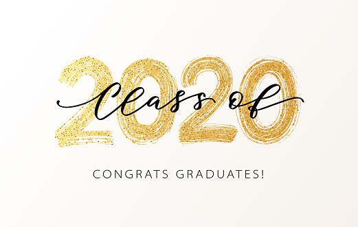 Class of 2020. Modern calligraphy. Hand drawn brush lettering logo. Graduate design yearbook. Vector illustration.