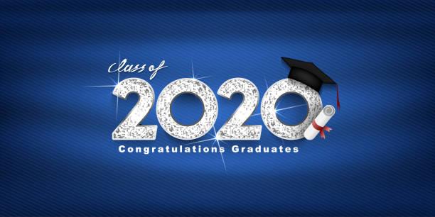 ilustrações, clipart, desenhos animados e ícones de turma do vetor 2020 texto vetorial para design de prata de graduação, evento de parabéns, camiseta, festa, ensino médio ou pós-graduação universitária. letras para saudação, cartão de convite - formatura