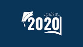 istock Class of 2020. White number, education academic cap and open book on blue background. Template for graduation design frame, high school, college congratulation graduate, yearbook. Vector illustration. 1219020990